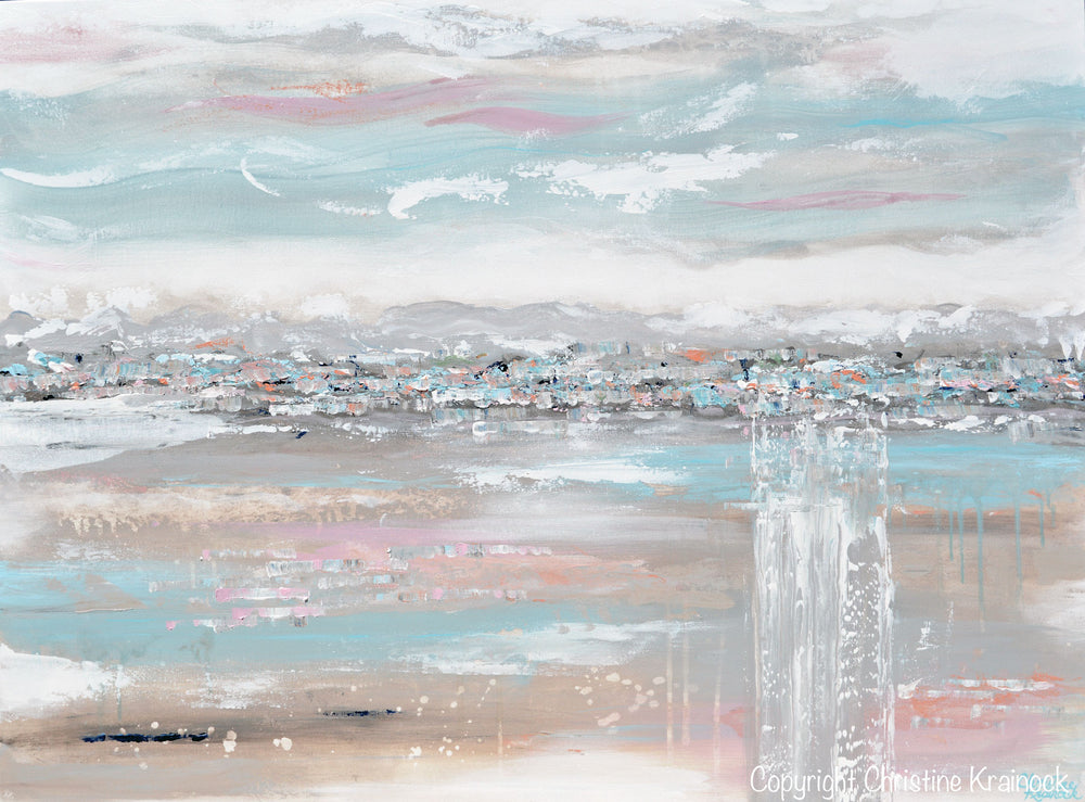 ORIGINAL Art Abstract Painting Landscape Blue Grey Pink Taupe Textured Minimalist LARGE 36x48""