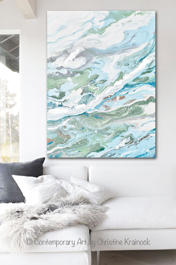 ORIGINAL Art Light Blue Green Abstract Painting Silver Leaf Marbled Coastal Wall Art 30x40""
