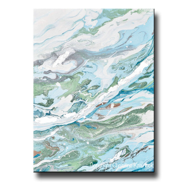 Sold Original Abstract Painting Pearl White Blue Wall Art: ORIGINAL Art Light Blue Green Abstract Painting Silver