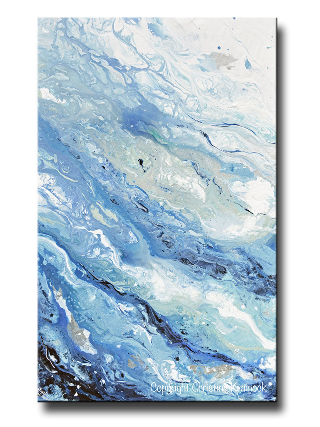 GICLEE PRINT Art Abstract Painting Blue White Coastal Marbled Seascape Large Canvas Prints Wall Art  sc 1 st  Contemporary Art by Christine & GICLEE PRINT Art Abstract Painting Blue White Marbled Coastal ...