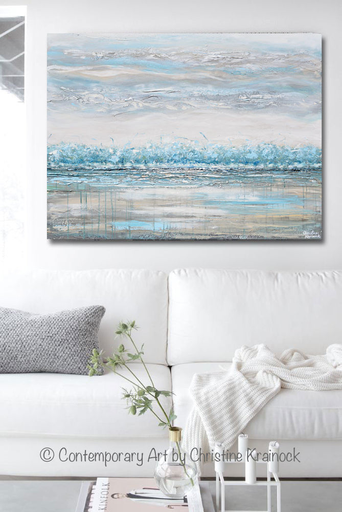 """Peace and Calm"" GICLEE PRINT Art Abstract Painting Landscape Teal Blue Aqua Grey Trees LARGE Canvas Wall Art Decor"