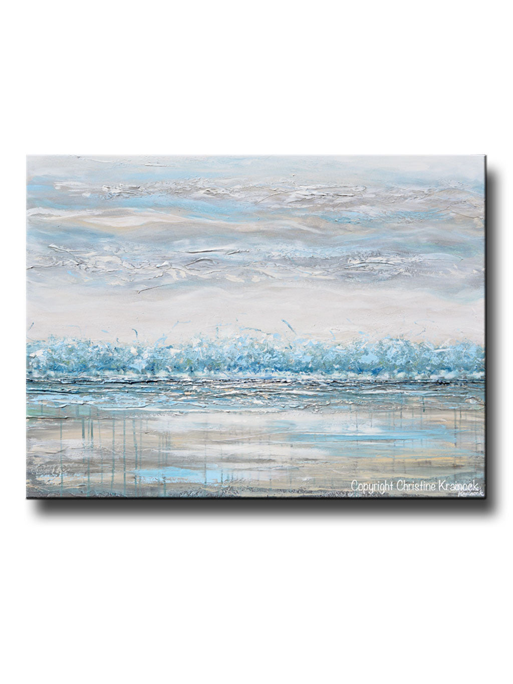 ORIGINAL Art Abstract Painting Landscape Horizon Teal Blue Grey Textured Trees LARGE Canvas Wall Art Decor  sc 1 st  Contemporary Art by Christine & Collections u2013 Contemporary Art by Christine