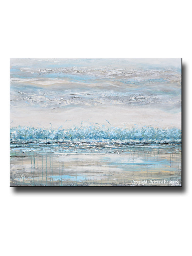 ORIGINAL Art Abstract Painting Landscape Horizon Teal Blue Grey Textured Trees LARGE Canvas Wall Art Decor 36x48""