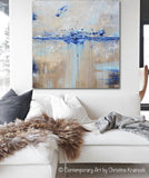 ORIGINAL Art Abstract Painting Navy Blue White Brown Textured Coastal Aqua Grey LARGE Wall Art Decor 36x36""