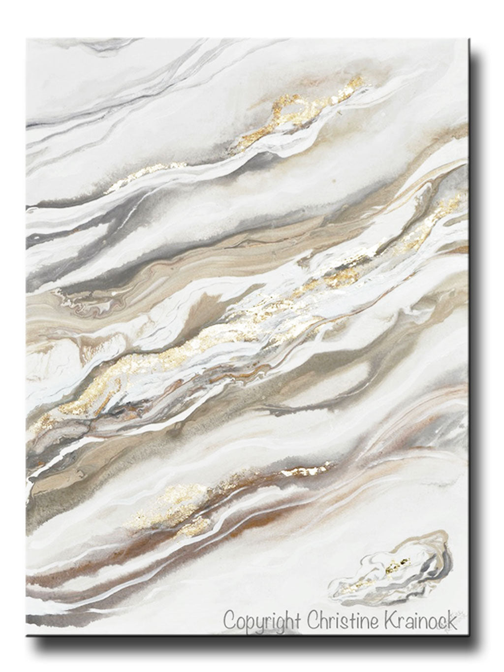 Original Art Neutral Abstract Painting White Grey Beige Gold Leaf Marbled Coastal Wall Art 36x48