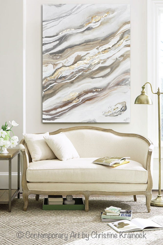 CUSTOM for KAILEY Art Neutral Abstract Painting White Grey Beige Gold Leaf Marbled Coastal Wall Art 40x30""