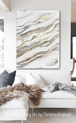 ORIGINAL Art Neutral Abstract Painting White Grey Beige Gold Leaf Marbled Coastal Wall Art 36x48""