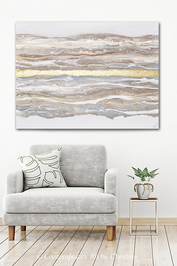 """Meditative"" ORIGINAL Art Abstract Painting Neutral Gold Leaf Marbled Coastal Landscape XL 48x36"""