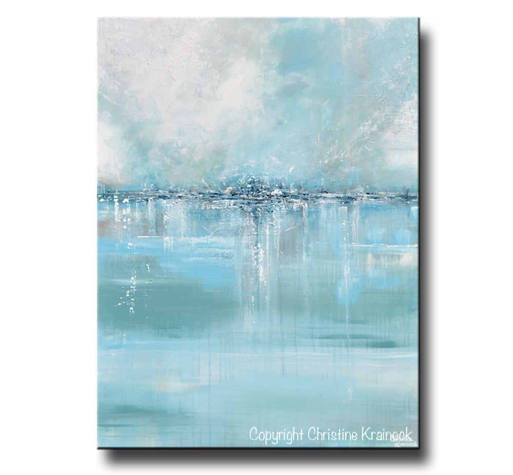 "ORIGINAL Art Abstract Painting Blue Sea Foam Green Grey White Textured LARGE Canvas Coastal Wall Art Decor 36x48"" - Christine Krainock Art - Contemporary Art by Christine - 3"