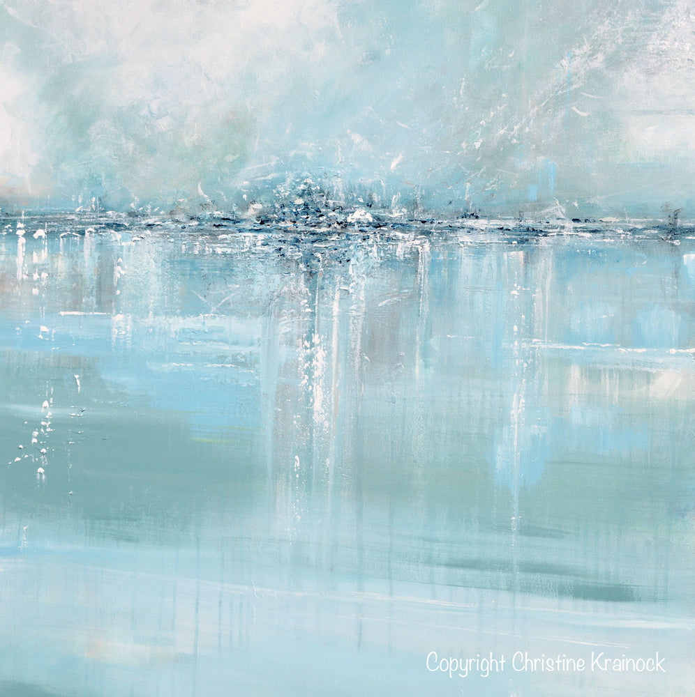 "ORIGINAL Art Abstract Painting Blue Sea Foam Green Grey White Textured LARGE Canvas Coastal Wall Art Decor 36x48"" - Christine Krainock Art - Contemporary Art by Christine - 5"