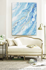 ORIGINAL Art Light Blue Aqua White Abstract Painting Gold Leaf Marbled Coastal Wall Art 48x36""
