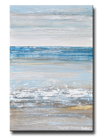 ORIGINAL Art Abstract Painting Textured Seascape Blue White Grey Beige Ocean Beach Coastal Home Decor Wall Art 24x36""