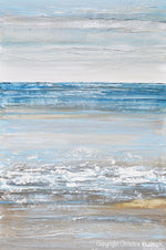 GICLEE PRINT Art Abstract Painting Seascape Blue White Grey Beige Ocean Beach Coastal Home Decor Wall Art