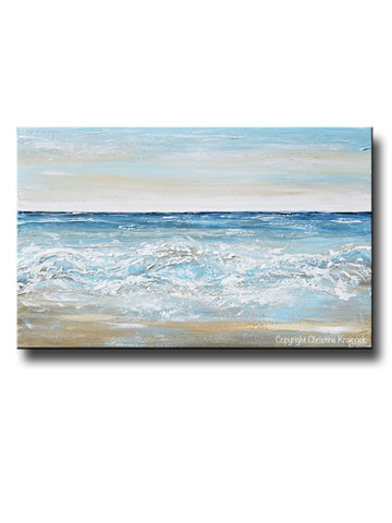 ORIGINAL Art Abstract Painting Textured Ocean Waves Blue White Grey Beige Beach Coastal Home Decor Wall Art 30x48""