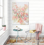 ORIGINAL Art Abstract Floral Painting Textured Pink Flowers Coral Peach Roses Wall Decor 30x40""