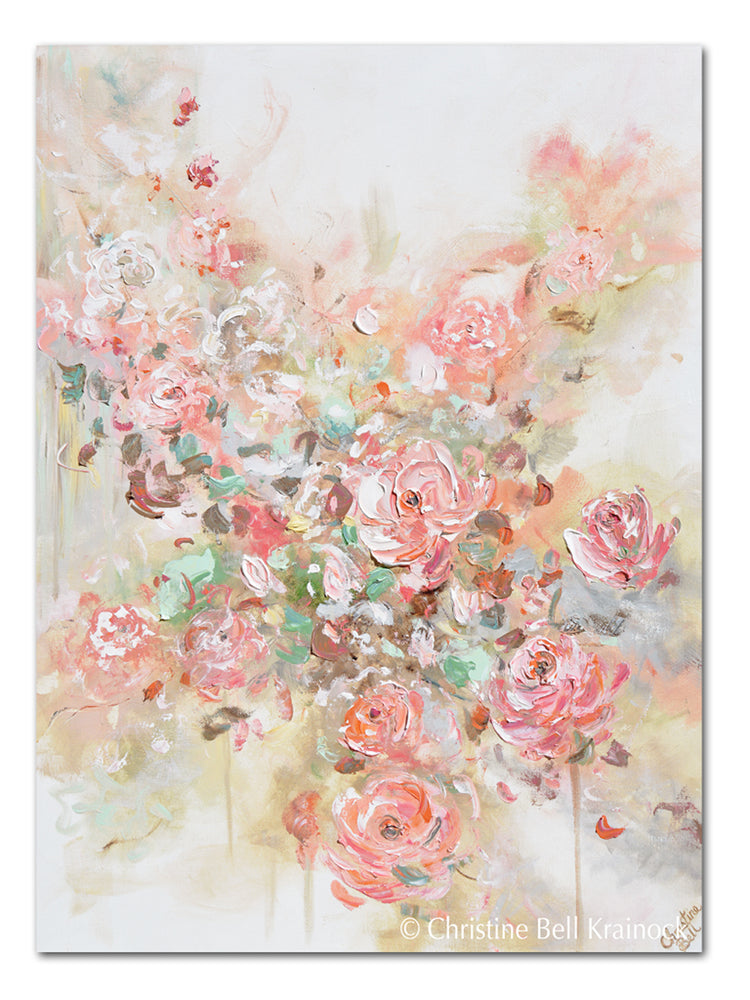 GICLEE PRINT Art Abstract Floral Painting Pink Flowers Coral Peach Roses Home Wall Decor