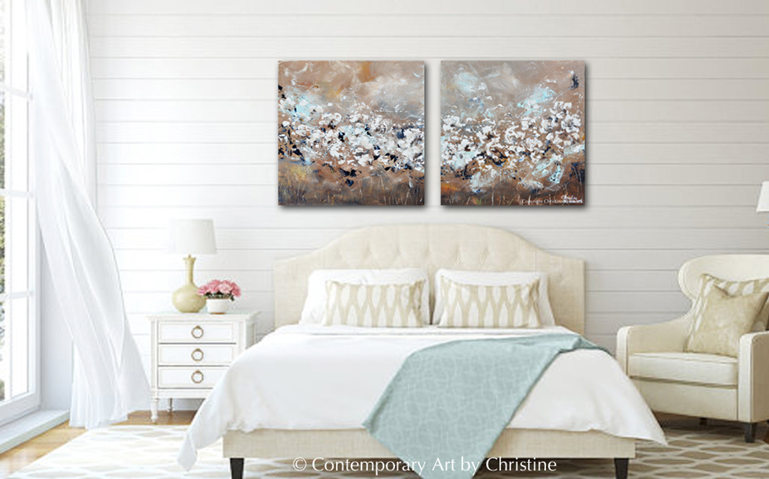 ORIGINAL Art Abstract Painting TEXTURED White Flowers 2 Canvas Diptych Grey  Taupe Creme Blue Wall Decor 40