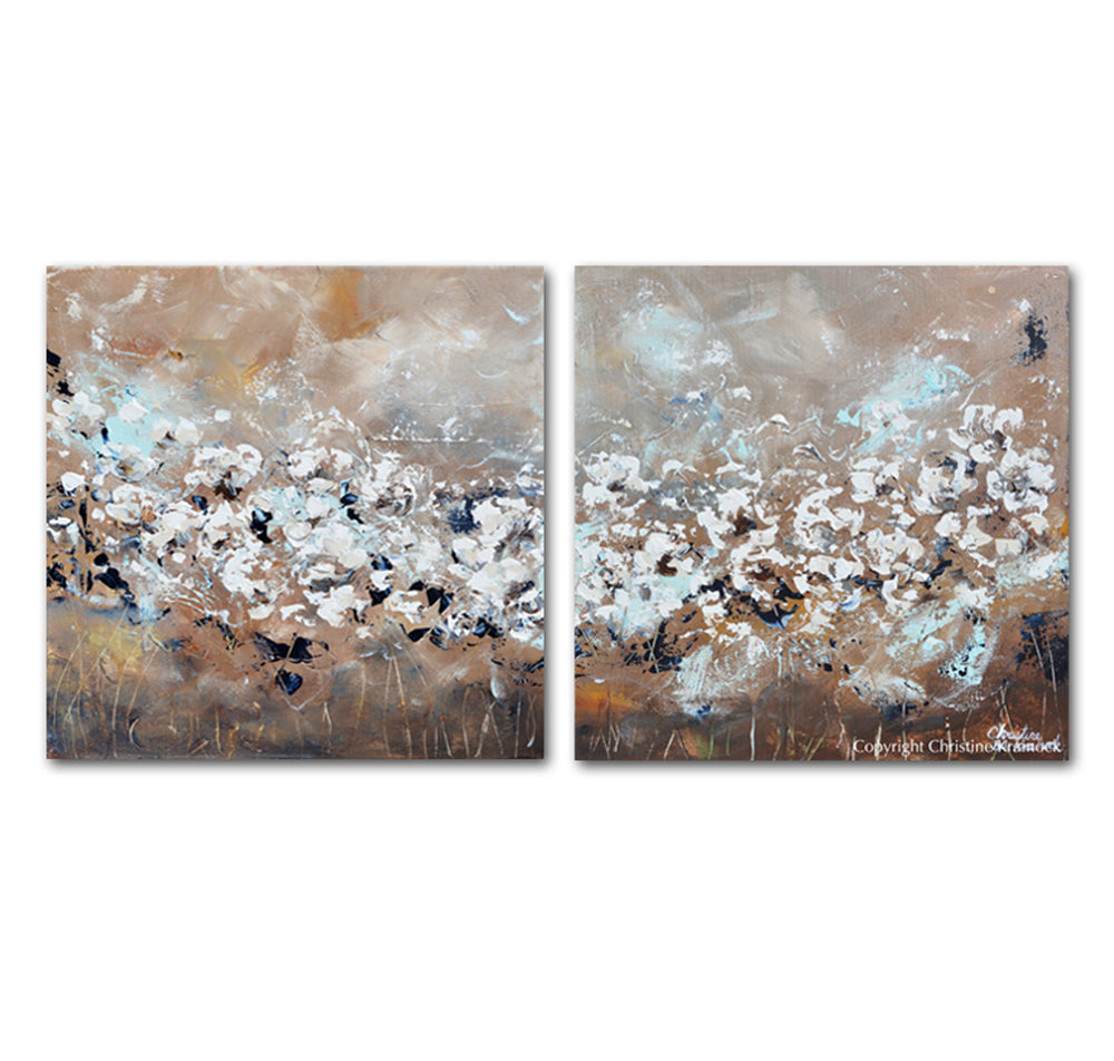 ORIGINAL Art Abstract Painting TEXTURED White Flowers 2 Canvas Diptych Grey Taupe Creme Blue Wall Decor 40""