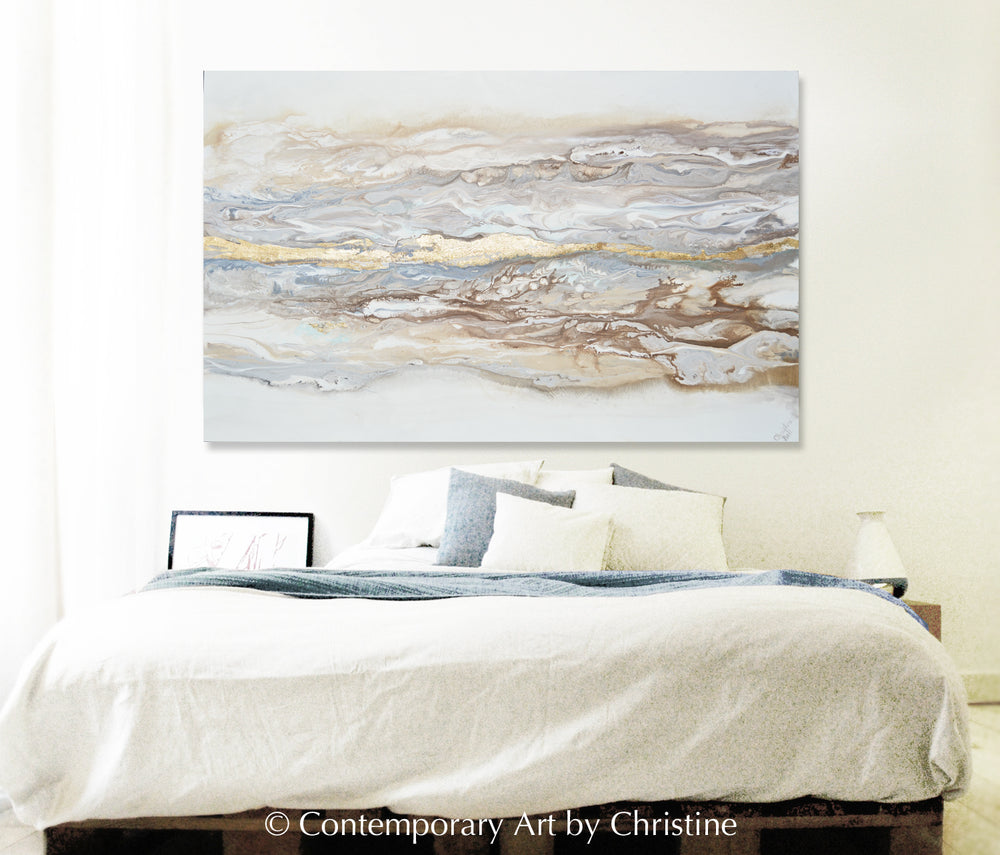 """Ingrained in My Soul"" ORIGINAL Art Abstract Painting Neutral White Beige Gold Leaf Marbled Coastal Landscape 48x30"""