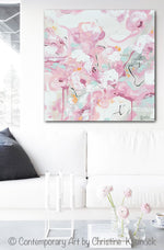 ORIGINAL Art Abstract Painting Pink White Grey Cream Home Decor Floral Wall Art 20x20""