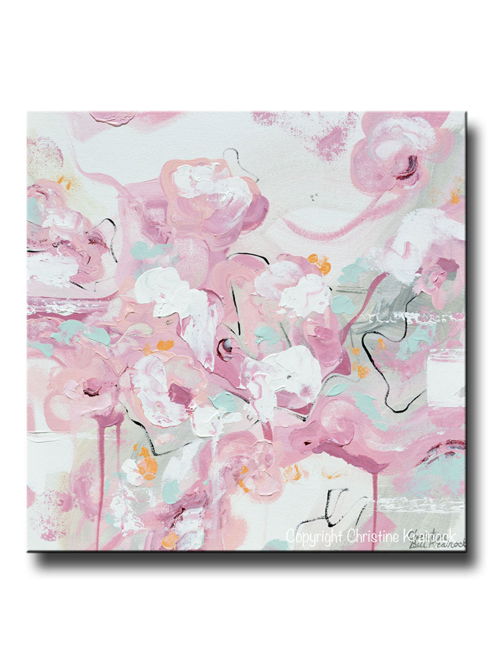 Original Art Abstract Painting Pink White Grey Cream Home Decor Floral Wall Art 20x20