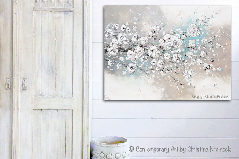 CUSTOM for LISSETTE -ORIGINAL Art Abstract Painting White Cherry Blossoms Branch Flowers White Grey Creme Blue Neutral Home Wall Decor 30x24""