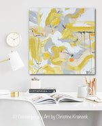 ORIGINAL Art Abstract Painting Yellow Grey Gold White Coastal Home Wall Decor Canvas Art 20x20""