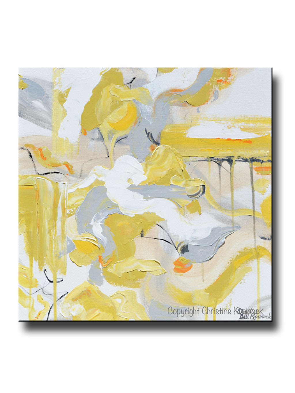 Original art abstract painting yellow grey gold white coastal home wall decor canvas art 20x20