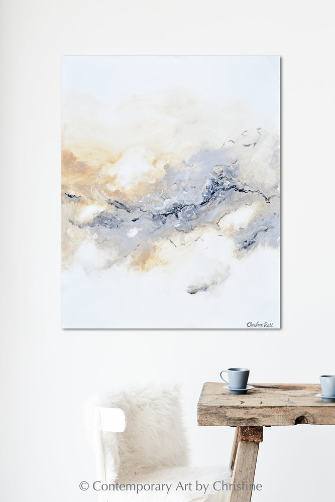 """Authentic"" ORIGINAL Art Neutral Coastal Abstract Painting White Beige Grey Marbled 24x30"""
