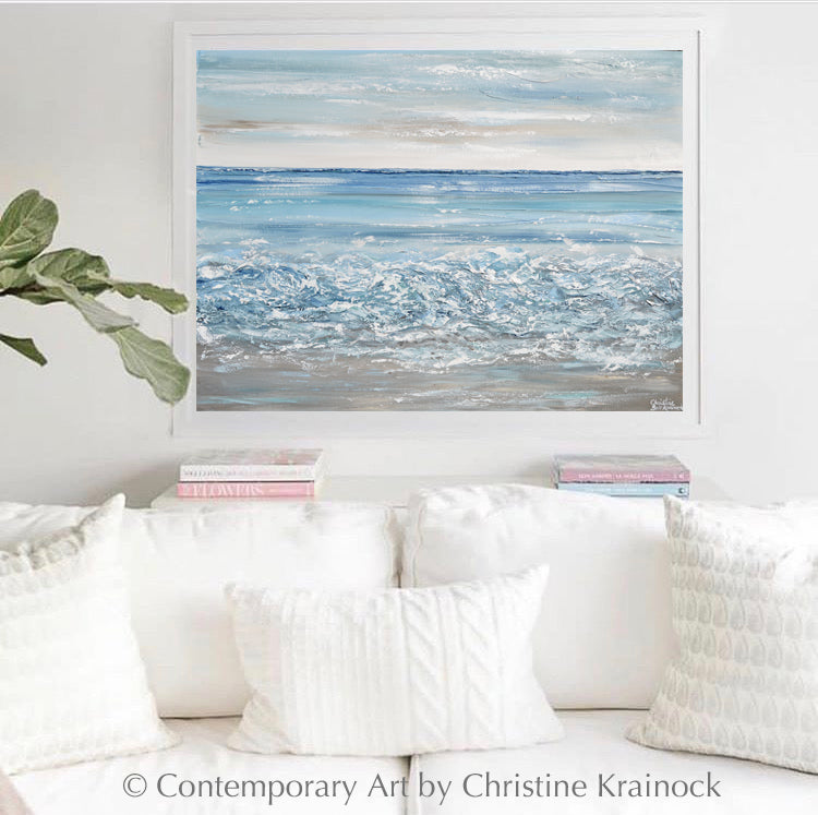 CUSTOM for REBECCA-ORIGINAL Art Abstract Painting Textured Beach Ocean Waves Aqua Blue White Grey Beige Coastal Home Decor Wall Art 30x40""