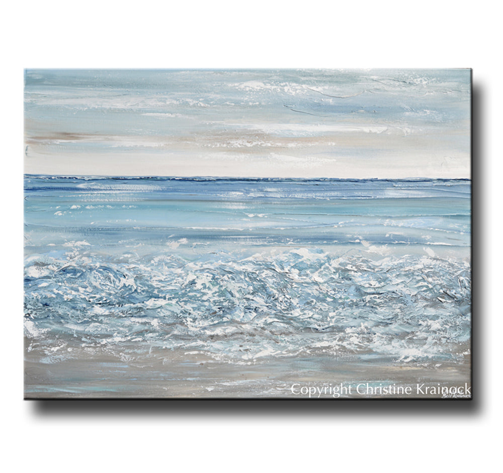 ORIGINAL Art Abstract Painting Textured Beach Ocean Waves Blue White Grey Beige Coastal Home Decor Wall Art 36x48""