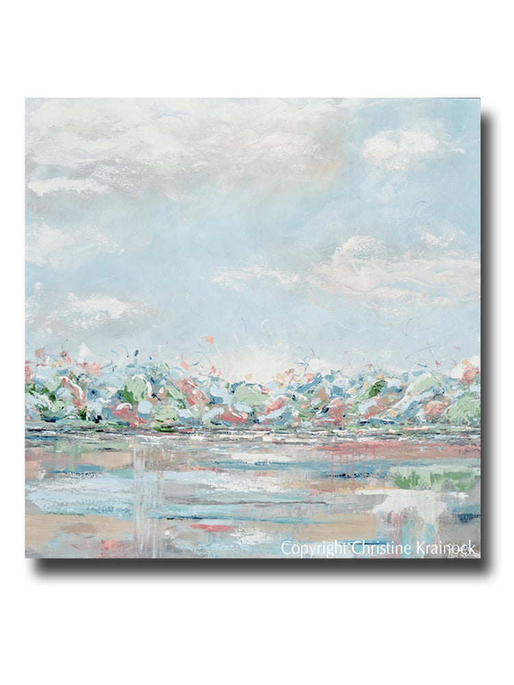 ORIGINAL Art Abstract Painting Landscape Light Blue Green Grey Pink Textured LARGE 40x40""