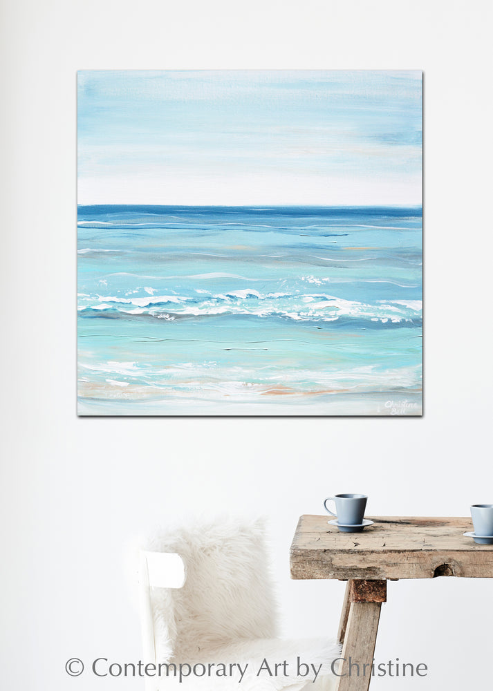 """Crystal Blue"" ORIGINAL Art Coastal Abstract Painting Textured Aqua Blue White Beach Decor24x24"""