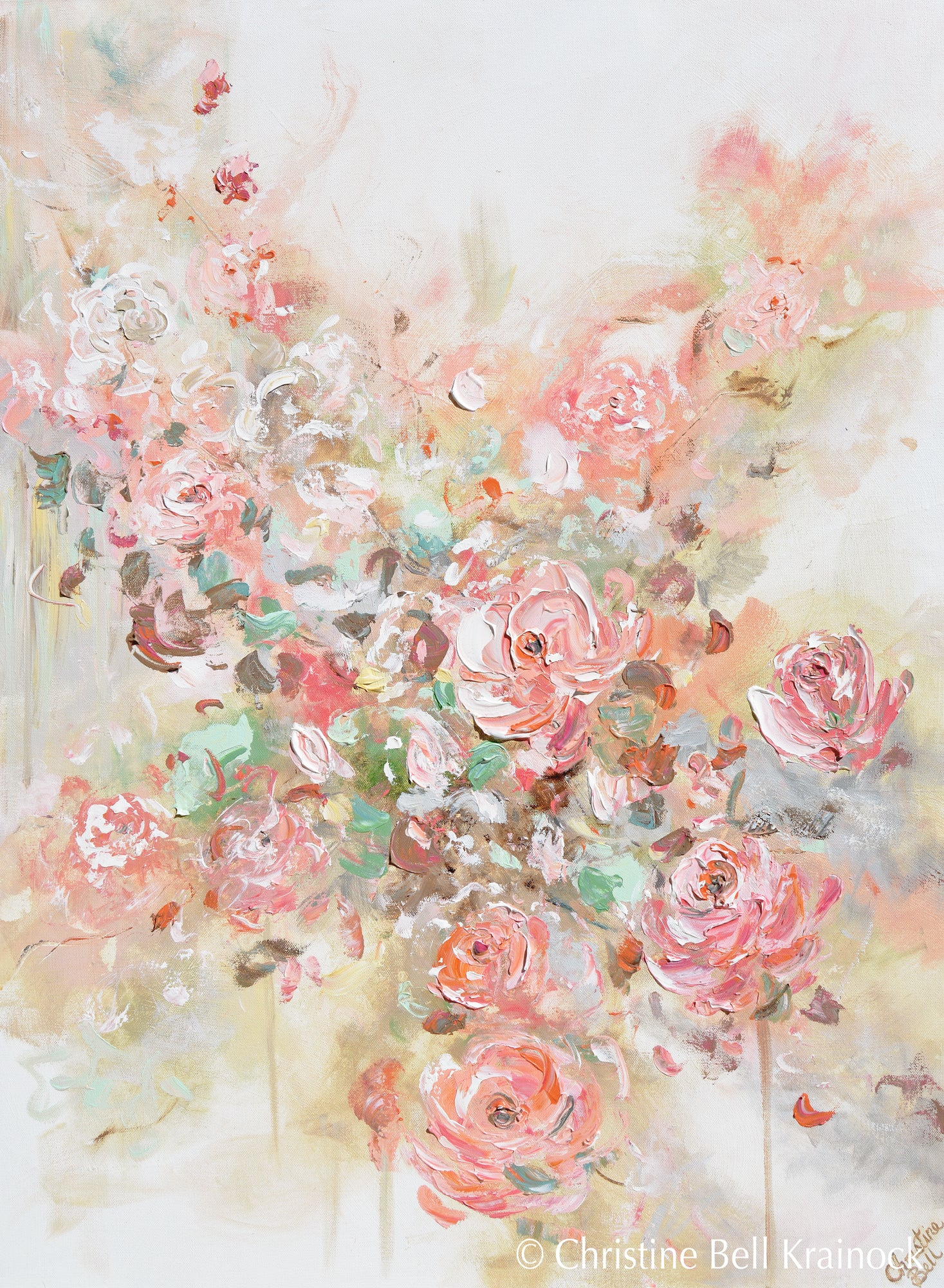 Original art abstract floral painting textured pink flowers coral peach roses wall decor 30x40