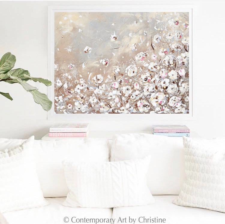 """Delicate Beauty"" ORIGINAL Art Abstract Painting TEXTURED White Flowers Floral 40x30"""