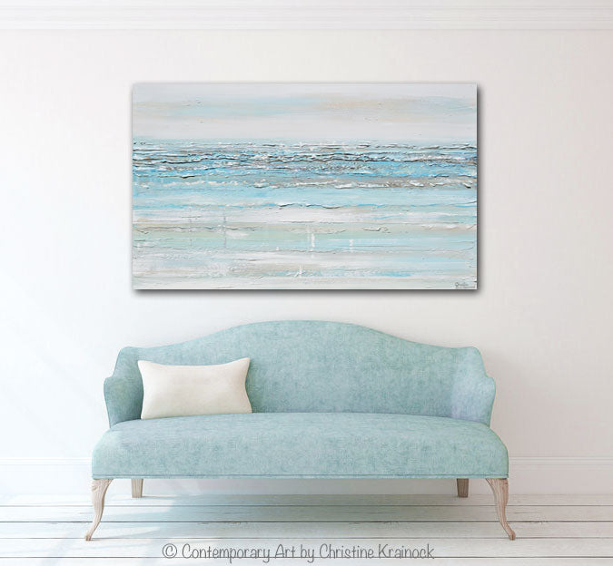 GICLEE PRINT Art Abstract Light Aqua Blue Painting White Grey Coastal Decor Wall Art