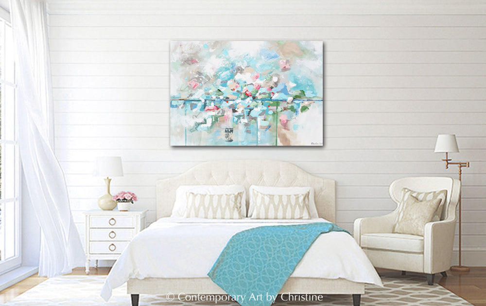 ORIGINAL Art Abstract Painting Textured Light Blue Aqua Floral Home Decor 40x30""