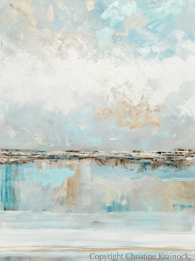 ORIGINAL Art Abstract Painting Textured Light Blue White Grey Beige Coastal Landscape 30x40""
