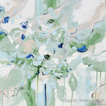 ORIGINAL Art Abstract Painting Mint Green Blue White Cream Coastal Home Decor Wall Art 20x20""