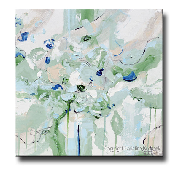 Sold Original Abstract Painting Pearl White Blue Wall Art: ORIGINAL Art Abstract Painting Mint Green Light Blue