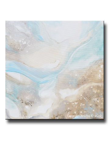"ORIGINAL Art Abstract Painting Sea Beach Pale Blue Green Grey Beige White Modern Fine Art Coastal Decor Wall Art 36x36"" - Christine Krainock Art - Contemporary Art by Christine - 1"