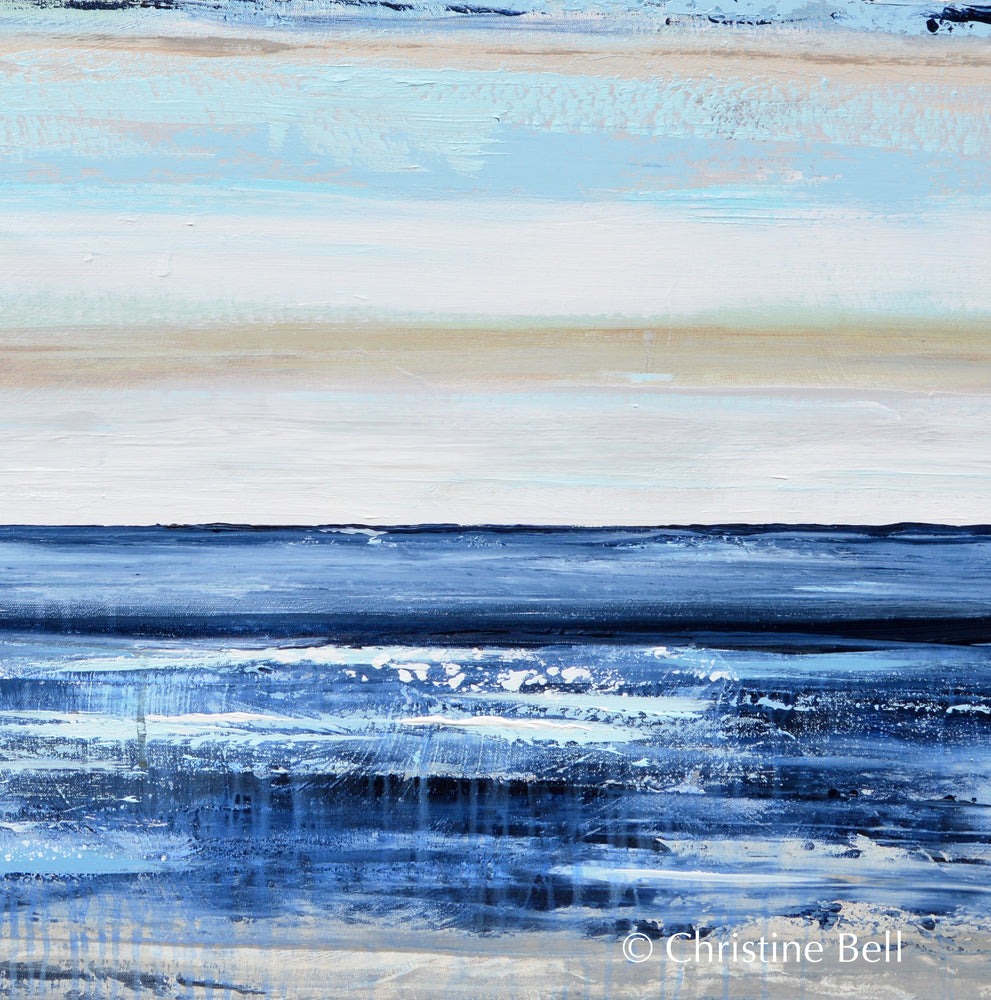 """Coastal Blue"" ORIGINAL Art Abstract Painting Textured Navy Blue White Sea Foam Beach Wall Art 48x36"""
