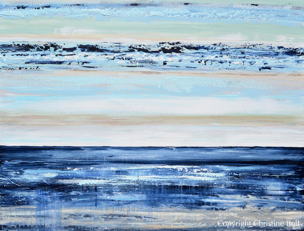 ORIGINAL Art Abstract Painting Textured Navy Blue White Sea Foam Coastal Beach Wall Art 48x36""