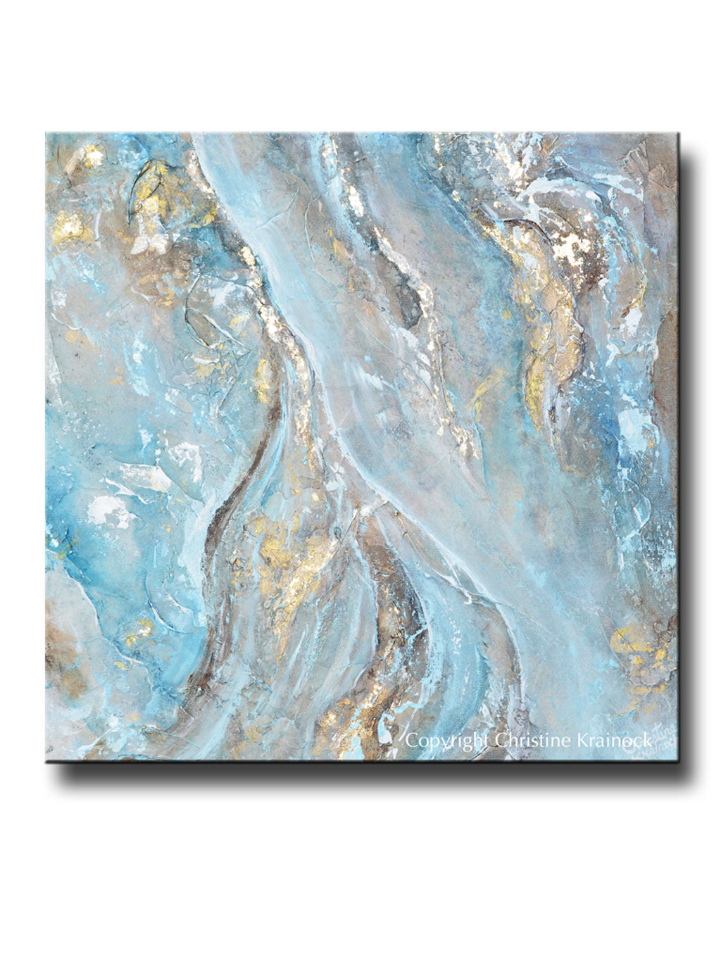 Original art blue brown white abstract painting gold leaf textured coastal wall art 24x24