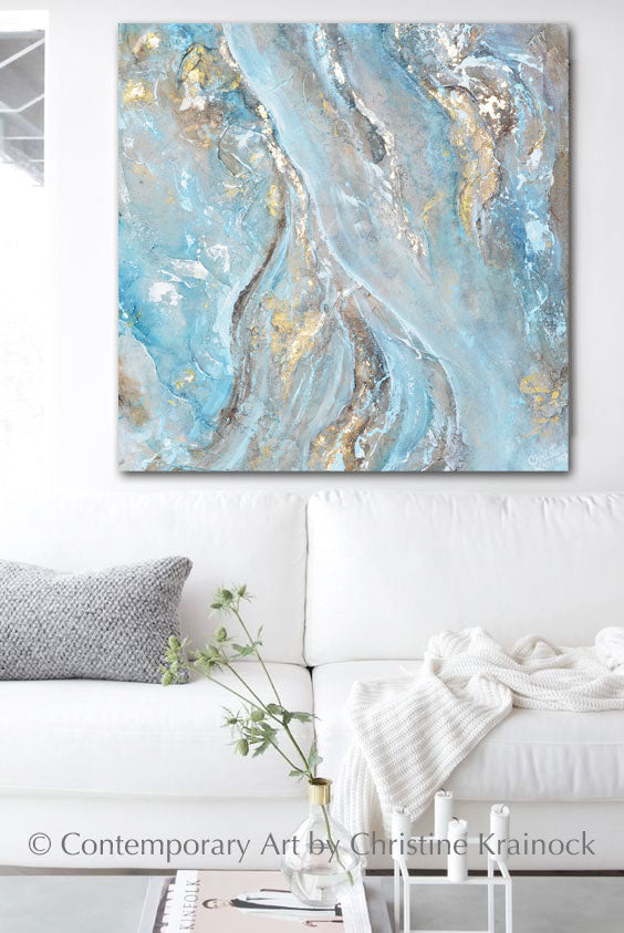 ORIGINAL Art Blue Brown White Abstract Painting Gold Leaf Textured Coastal Wall Art 24x24""