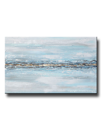 ORIGINAL Art Abstract Painting Textured Light Blue White Grey Gold Leaf Modern Coastal Home Decor Wall Art 30x48""