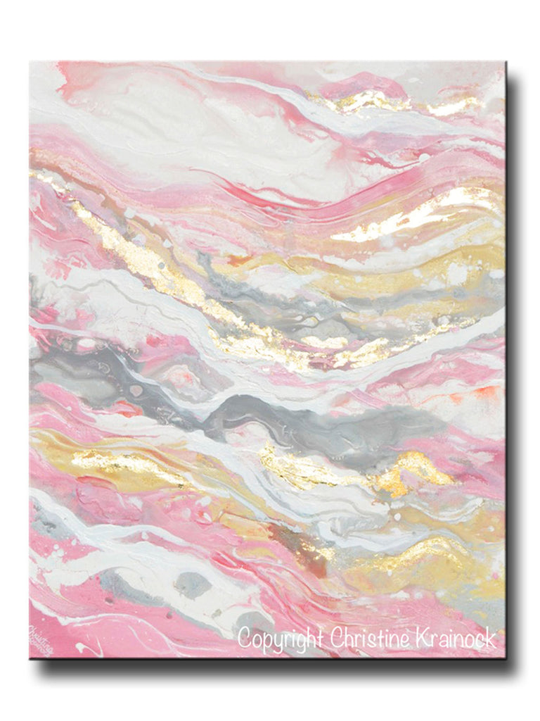 Original Art Abstract Painting Pink White Grey Beige Gold