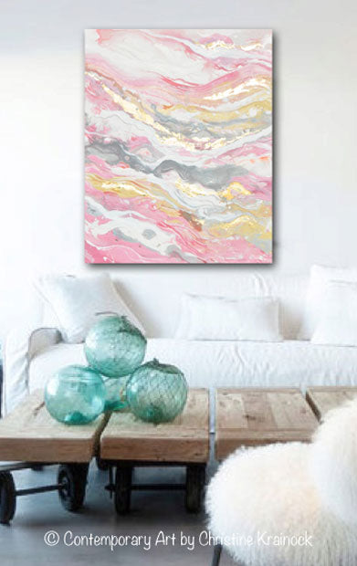 ORIGINAL Art Abstract Painting Pink White Grey Beige Gold Leaf Marbled Coastal Wall Art 30x24""