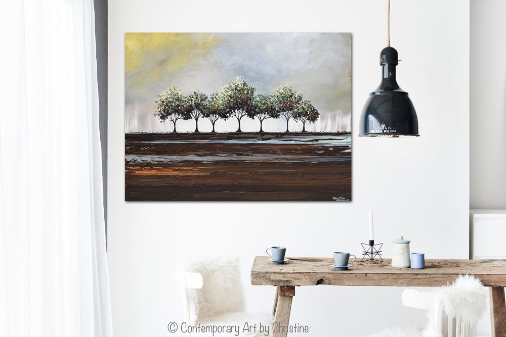 ORIGINAL Art Abstract Painting Trees Textured Palette Knife Green Brown Grey Tree Landscape Wall Decor 40x30""