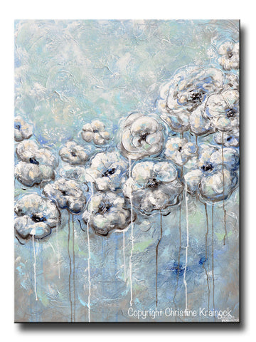 GICLEE PRINT Art Abstract Blue Grey White Flowers Painting Modern Coastal Floral Canvas Print